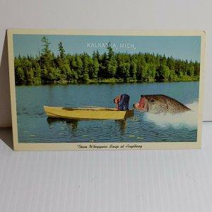 Vintage Postcard Kalkaska Michigan Fishing Whoppers Will Snap At Anything  622