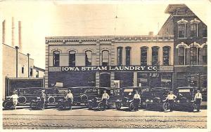Davenport IA Iowa Steam Laundry Co. Delivery Truck, in 1920 RPPC Postcard