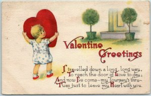 Vintage VALENTINE GREETINGS Postcard Girl with BIG Red Heart - 1914 Cancel