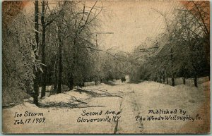 1909 GLOVERSVILLE New York Postcard ICE STORM SCENE Second Avenue UNUSED