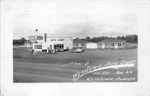 Wetaskiwin Alberta Canada Esso Gas Station Auto Court Hwy 2  RPPC Postcard