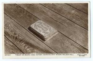 RPPC of the Tablet on Board H.M.S Victory Marking Spot Where Nelson Fell
