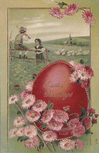 Easter Greetings Beautiful Embossed Easter Egg With Flowers