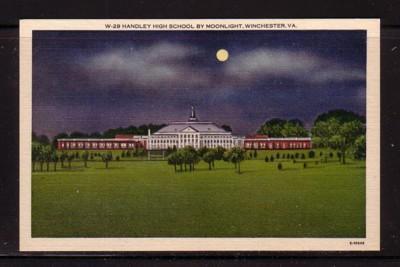 Virginia Postcard  Night Handley High School Winchester