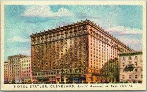 1946 Cleveland, Ohio Postcard HOTEL STATLER Euclid Avenue / Artist's View