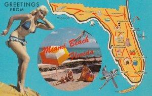 PIN-UP: Girl & map of Florida , 1950-60s