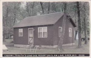Wisconsin Siren Cabin #1 Trauth's Lakeside Resort Real Photo RPPC