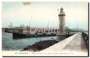 Marseille Old Postcard Entree harbor of Joliette and St. Mary Lighthouse (lig...