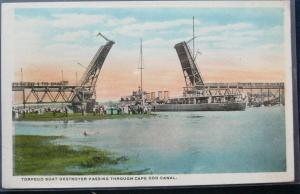 Torpedo Boat Destroyer Passing Through Cape Cod Canal H A Dickerman & Son Pub