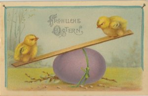 EASTER chicks , 1900-10s ; Playing w/Purple Egg SEE-SAW