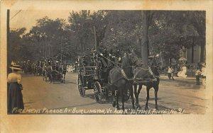Burlington VT Fireman's Parade Horse Drawn Fire Fighting Wagons in 1910 RPPC