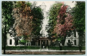 Media PA~Handcolored-Autumn @ Courthouse~Wrought-Iron Fence~Hitching Post c1910