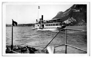 1939 RPPC Passenger Ship on Lac D'Annecy, France Real Photo Postcard *5A