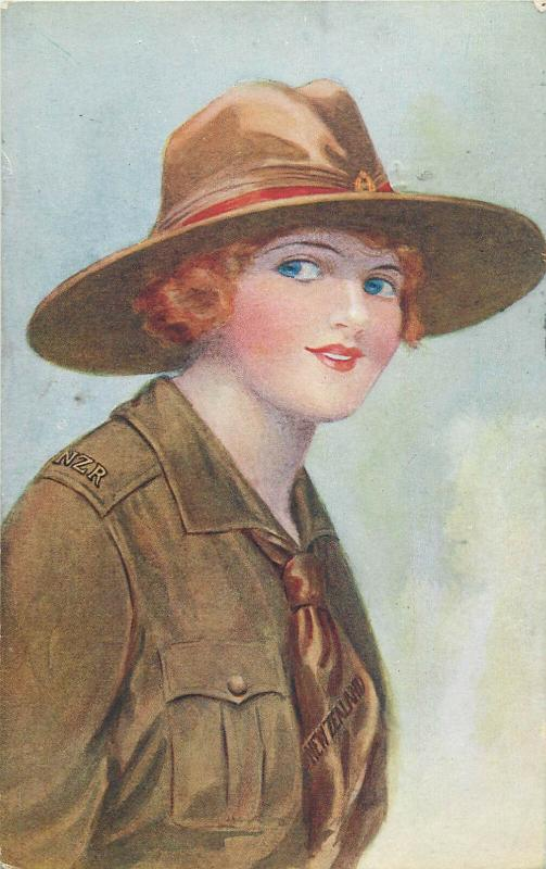 The Army and Navy Girls Series postcard New Zealand military scout girl uniform