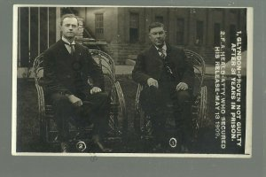 Fort Madison IOWA RPPC 1909 PRISONER FREED Prison Attorney PROVEN NOT GUILTY