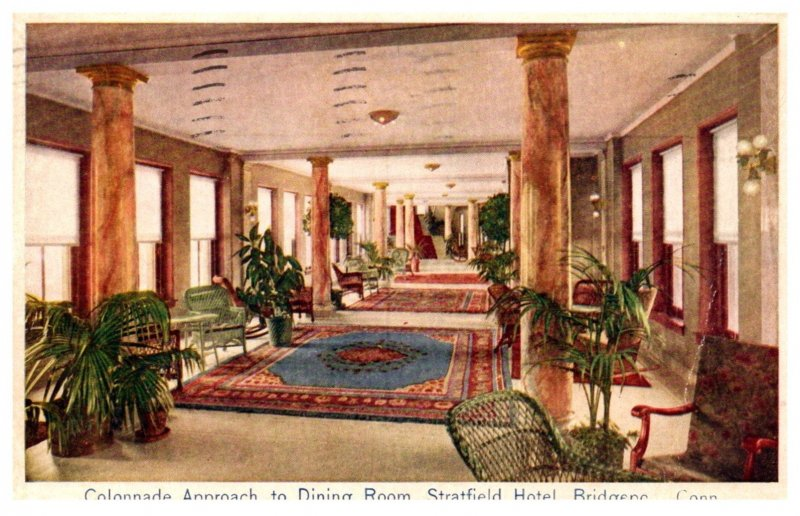 Connecticut Bridgeport  Stratfield Hotel Colannade Approach to Dining room