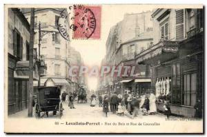 Levallois Perret Old Postcard Wood Street and Rue de Courcelles