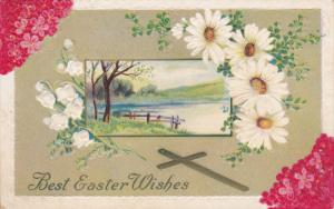 EASTER; Best Wishes, Lilly Bells, Daisies, Lake View, Cross, Pink Flowers, PU...