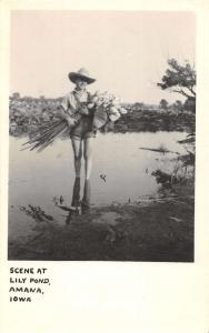 Amana Iowa Lily Pond Child Real Photo Antique Postcard K54722