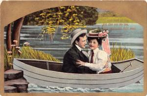 LOT OF 5 ROMANCE POSTCARDS 1910s~YOUNG COUPLE IN BOAT~ADDRESSED TO MARSHALL VA