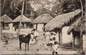 Greetings from Jamaica Country Village Children Dog Mule Unused Postcard F52