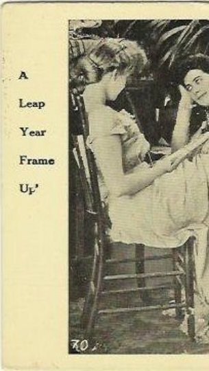 Rare Leap Year Antique Postcard A Leap Year Frame Up A group of Women plotting