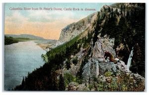 Early 1900s Columbia River from St. Peter's Dome with Castle Rock, OR Postcard