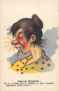 Comic ugly red nose woman caricature VIEILLE POIVROTE comique