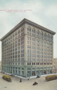 LOS ANGELES , California ; 1900-10s ; Security Savings Bank, Fifth & Spring Sts.