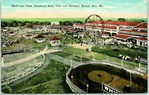 Kansas City, Postcard Bird's-Eye View, FAIRYLAND PARK Panorama c1910s Unused