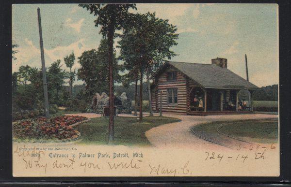 Detroit MI  Log Cabin Entrance to Palmer Park used 1906 colour PC