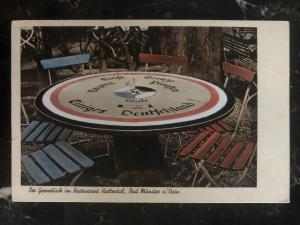 1935 Bad Munster Germany Picture Postcard cover border table in the restaurant