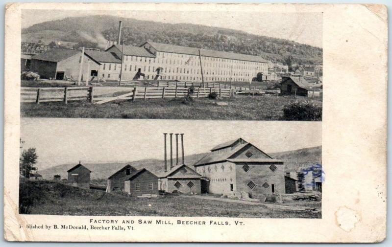 Beecher Falls, Vermont Postcard FACTORY AND SAW MILL 2 Views c1900s Unused