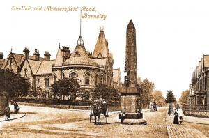 Vintage 1904 Reproduction Postcard, Obelisk and Huddersfield Road, Barnsley 15E