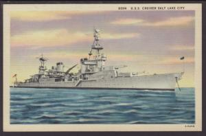 USS Cruiser Salt Lake City Postcard