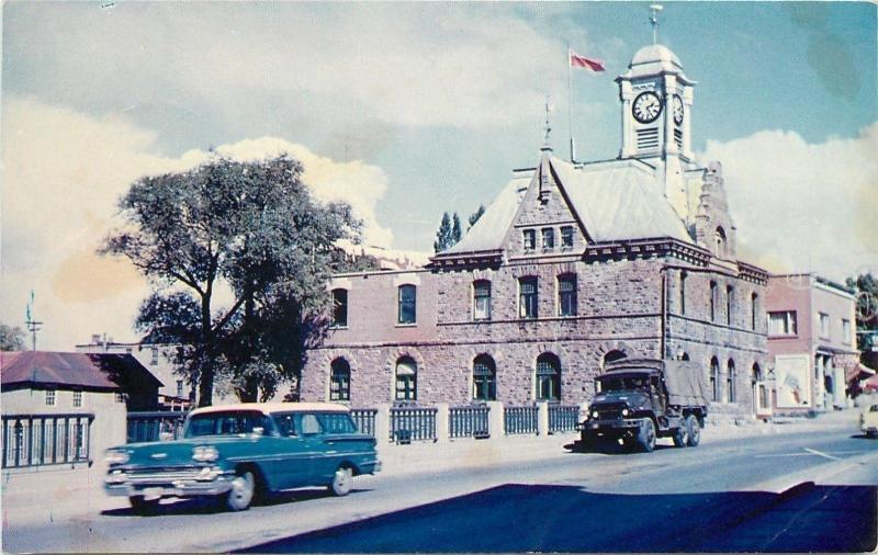 Pembroke Ontario~The City Hall~NICE 1950s Station Wagon Car~Truck~Postcard