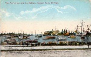 Chicago IL~Jackson Park~Anchorage Columbus Ships~La Rabida~Boats Galore~1915