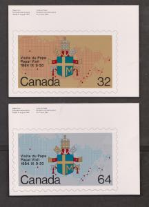 Papal Visit Stamps On Postcards - Canada Set Of 2 - Unused
