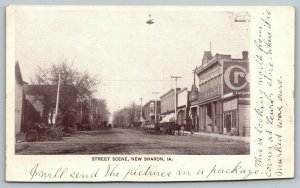 New Sharon Iowa~Main Street~North from Lewis's Store~Ours is Marked~c1910 B&W PC