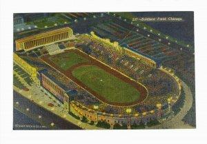 Soldiers' Field Chicago Illinois Linen Postcard Birds Eye View Unposted
