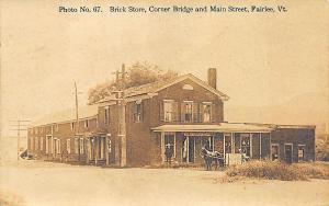 Fairlee VT Main Street Brick Store Corner Bridge RPPC