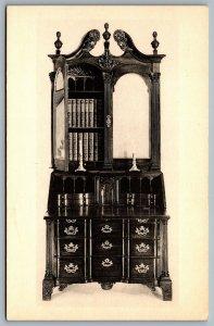 Postcard Winterthur DE c1960s Magogany Block Front Desk & Bookcase c1765-75