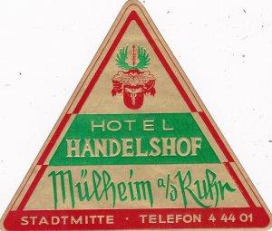 Germany Muelheim an der Ruhr Hotel Handelshof Vintage Luggage Label sk2822