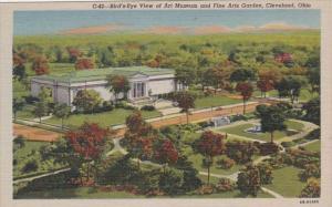 Ohio Cleveland Birds Eye View Of Art Museum and Fine Arts Garden Curteich