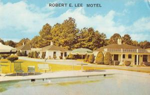 Chester Virginia birds eye view Robert E Lee Motel pool vintage pc Z16254