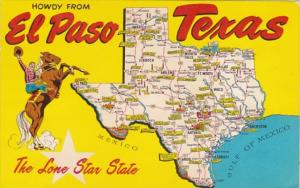 Greetings From El Paso Texas With Map 1967
