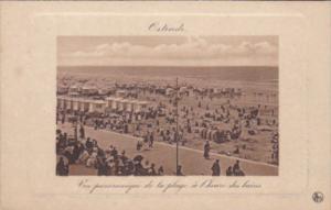 Belgium Ostende Vue Panoramique de la plage a l'heure des bains