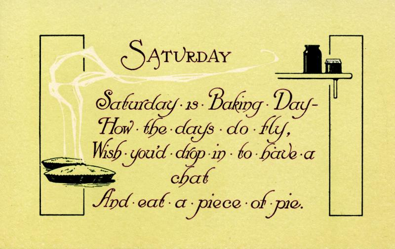 Greeting - Saturday.  (© 1913 Graphic Art Co., KX-7)