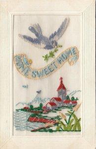 Hand Sewn, 1900-10s; Home sweet Home, Bird, Church Scene