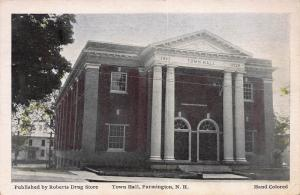 Town Hall, Farmington, New Hampshire, Early Postcard, Used in 1929